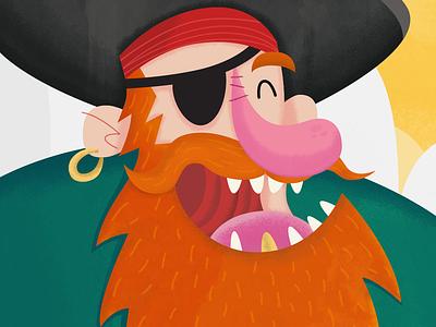 Pirate Captain and His Treasure illustration treasure pirate cartoon