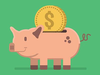 Making Bank piggy bank bank vector illustration flat