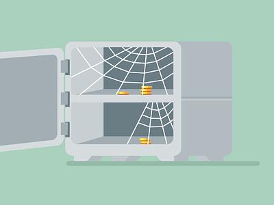 Empty Safe vault cash vector illustration flat coins money safe