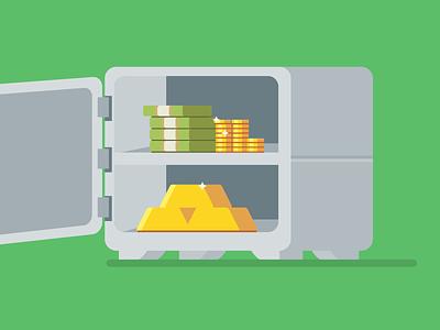 Making Money vector vault safe money cash illustration flat coins