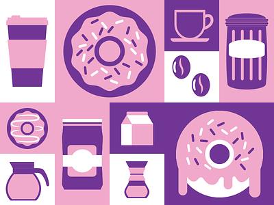 Coffee & Donuts coffee donut vector flat illustration