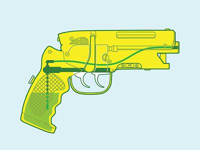 LAPD 2019 Water Blaster blade runner water gun vector flat illustration