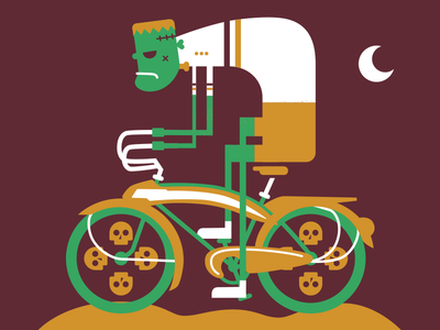 Frankin' Ride bicycle frankenstein flat vector illustration