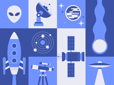 Outer Space vector illustration flat aliens space