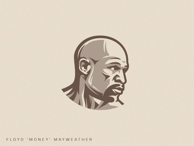 Champion rerto engraving vintage portrait mayweather floyd mayweather money fighter mma boxing branding illustration muscle vector fitness design athlete team sport logo