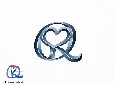 MKQ (monogram) creative rich iron 3d engraving luxury steel metal metalic monogram branding vector design logo