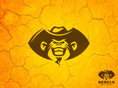 Rebels Monkeys serious sheriff cowboy hat cowboy outlaw rebel bandit gorilla monkey chimp branding wild cartoon vector design animal team sport mascot logo