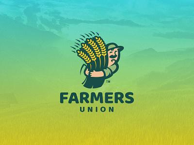 Farmers Union agronomy harvest grain field character comic man farming farmer farm branding illustration vector design animal team sport mascot logo