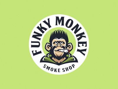 Funky Monkey character comic hooligan cannabis smoke hemp rasta gorilla chimp monkey branding illustration vector design animal mascot logo