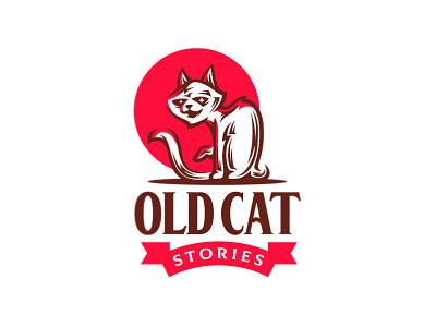 Old Cat fairy tail story classic engraving retro shop sun old pet cat branding illustration vector design animal mascot logo