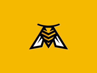Hornet logo sign bee hornet honey sport bumble bee m-bee m