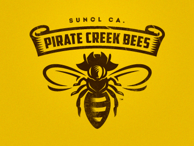 Pirate Creek Bees captain fly hat pirate yellow hornet honey bee logo