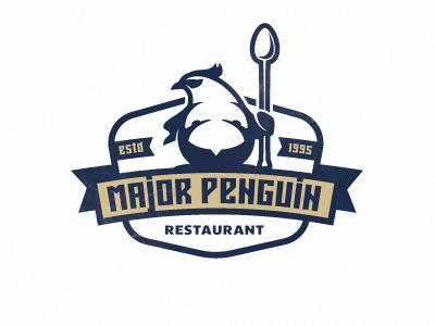 Penguin spoon guard eat food mascot character major serious penguin restaurant bar logo