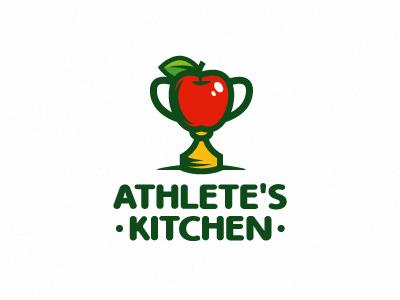 Athlete's Kitchen nutrition kitchen apple victory diet health cup fruits food athlete sport logo