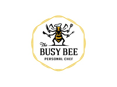 The Busy Bee buzz honey food kitchen cook chef yellow hornet bee mascot logo