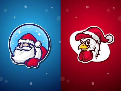 Santa And Rooster christmas cap hat santa claus mascot rooster new year holidays card vector