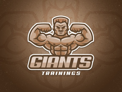 Giants esport mascot bodybuilding cartoon giant fitness biceps muscle training athlete sport logo