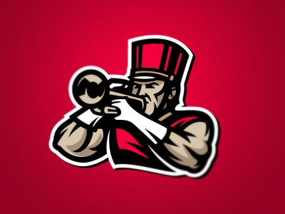 Athlete-Musician esport holyday red bicep muscle musician music athlete mascot team sport logo