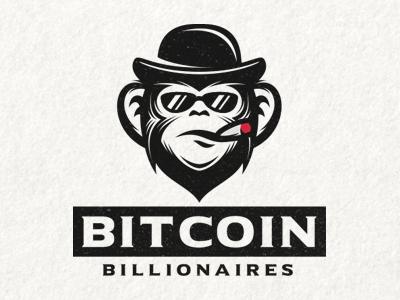 Bitcoin Billionaires rich serious branding logo gentleman mister billionaire mascot animal chimp monkey