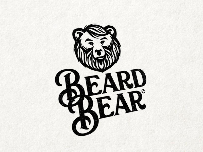 Beard Bear bar tatoo vintage animal mascot bearded beard bear hipster barbershop barber logo