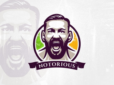 Notorious face ufc mma conor mcgregor notorious conor portrait fighter fight fitness athlete sport logo