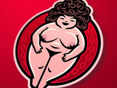 Bombshell venus character cartoon love lovely show babe beautiful boobs tits sexy nude erotic girl bombshell illustration fitness design mascot logo