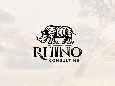 Rhino nature zoo mascot label vintage old engraving savannah africa safari horn rhinoceros rhino branding design illustration wild team animal logo