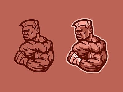 Fighter power strength boxing bicep martial arts mma bodybuilder fighter design illustration muscle fitness athlete team sport mascot logo