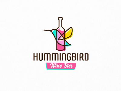 Hummingbird wings sweet honey taste bar fly simple line sign bright colorful bottle wine bird hummingbird food cartoon animal mascot logo