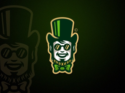Leprechaun mister gentleman magic bowtie sunglasses beard green irish gold gnome leprechaun hat design vector cartoon team sport mascot logo