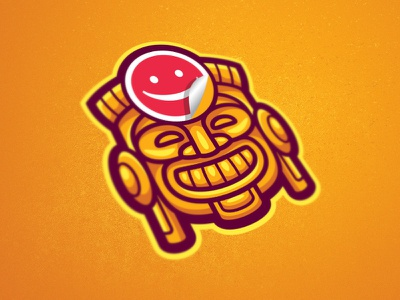 Stickinca sticker native character mask sculpture gold stone african warrior aztec inca maya indian vector design cartoon team sport mascot logo
