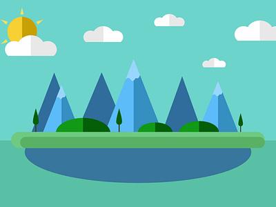 Isla Montañosa sea sunshine art illustration affinity designer vector design
