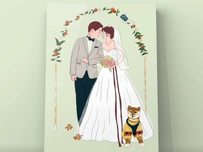 wedding illustration,couple,wedding
