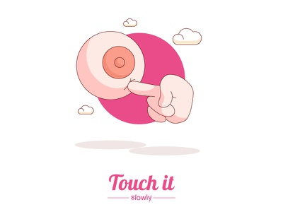Touch it slowly doodle cartoon vector illustration finger touch boobs breast tits