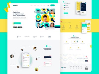 Wework - Landing Page app product landing page illustration ux logo website web flat ui brand identity minimal branding