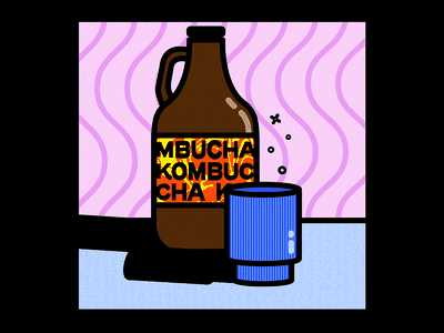 Kombucha Illustration adobe graphic design illustrator design bold stroke color palette textures illustrator photoshop kombucha