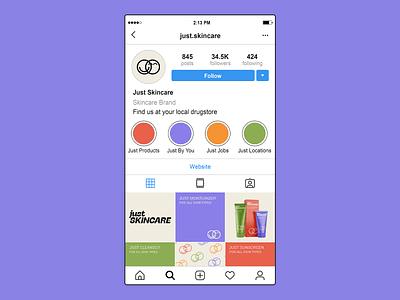 Just Skincare social media graphic design brand identity brand designer adobe creative cloud mockup design mockup instagram template branding social media design instagram post instagram