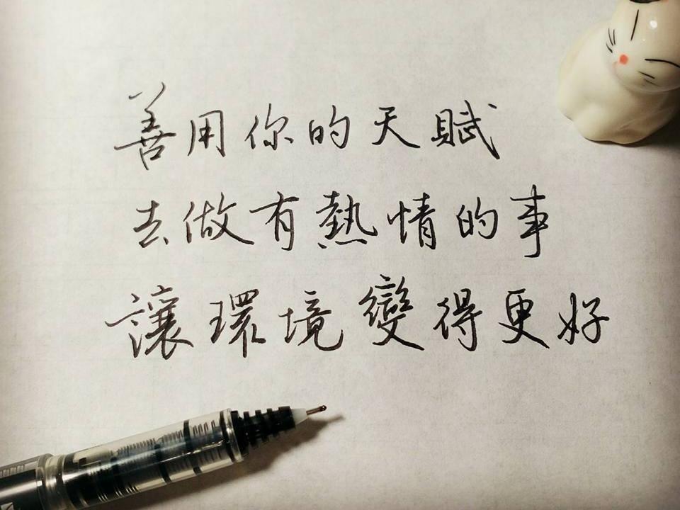 善用你的天賦做有熱情的事|行書 chinese calligraphy