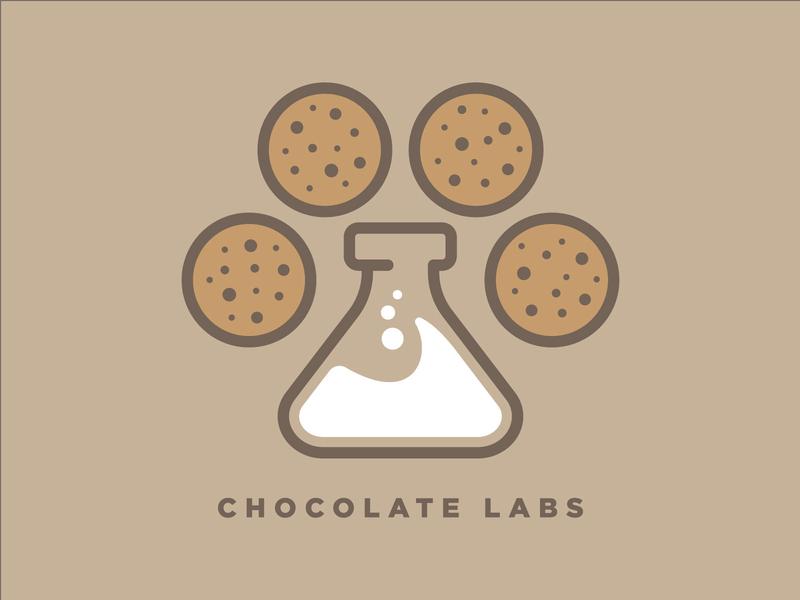 Chocolate Labs chocolate lab chocolate chip chocolate milk cookie food bakery chemistry science brand identity brand design dog illustration branding logo design vector
