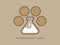 Chocolate Labs chocolate lab chocolate chip chocolate milk cookie food bakery chemistry science brand identity brand design dog illustration branding logo design vector