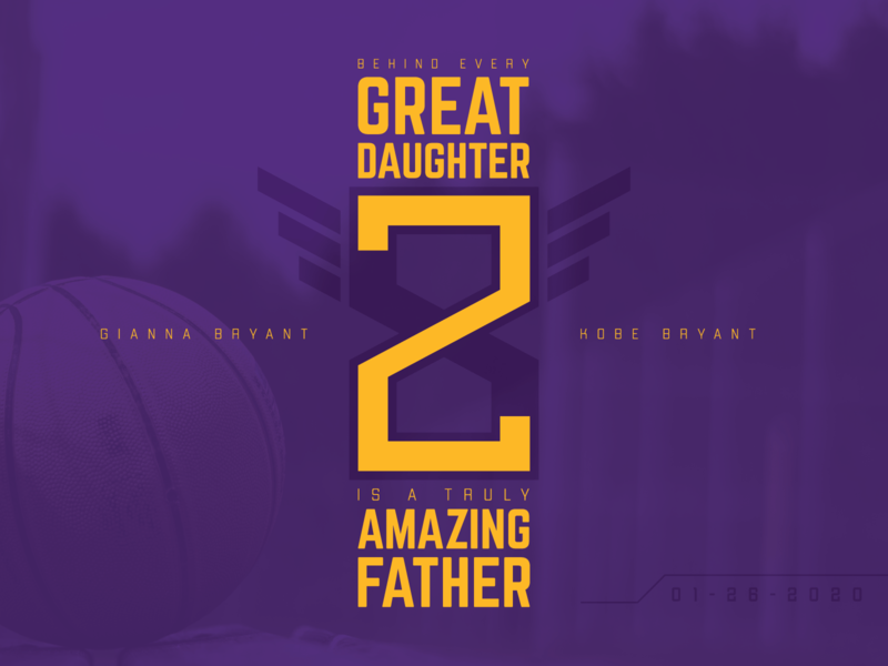 Kobe & Gigi love daughter father sports logo basketball lettering kobe bryant lakers minimal typography vector design logo