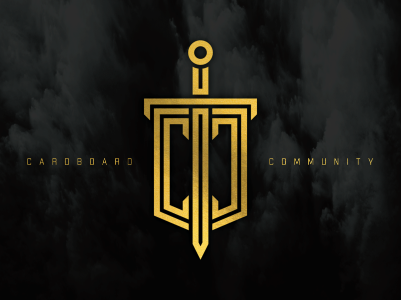 Cardboard Community - Logo black gold simple midevil fantasy magic sheild sword illustration vector artist branding logo typography lettering design