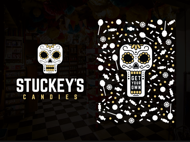Stuckey Candies - Get your own pattern candy shop white gold black dia de los muertos sugar skull candy sugar skull day of the dead america artist illustration vector branding logo typography lettering design