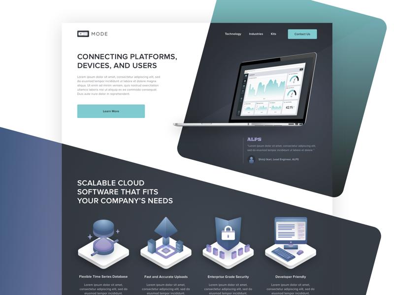 MODE Corporate Landing Page Concept 2018 mode saas iot cloud