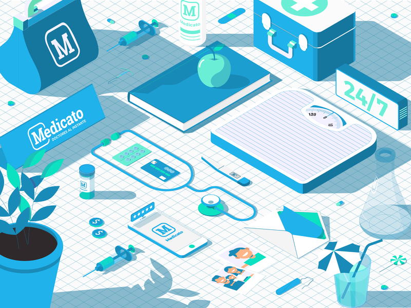 Medicato Master Graphic web design ux ui startup graphic design health medic isometric branding app vector dojo studio illustration digital art design