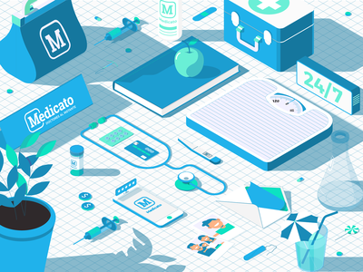 Medicato Master Graphic web design ux ui startup graphic design health medic isometric branding app vector dojo studio illustration digital art design