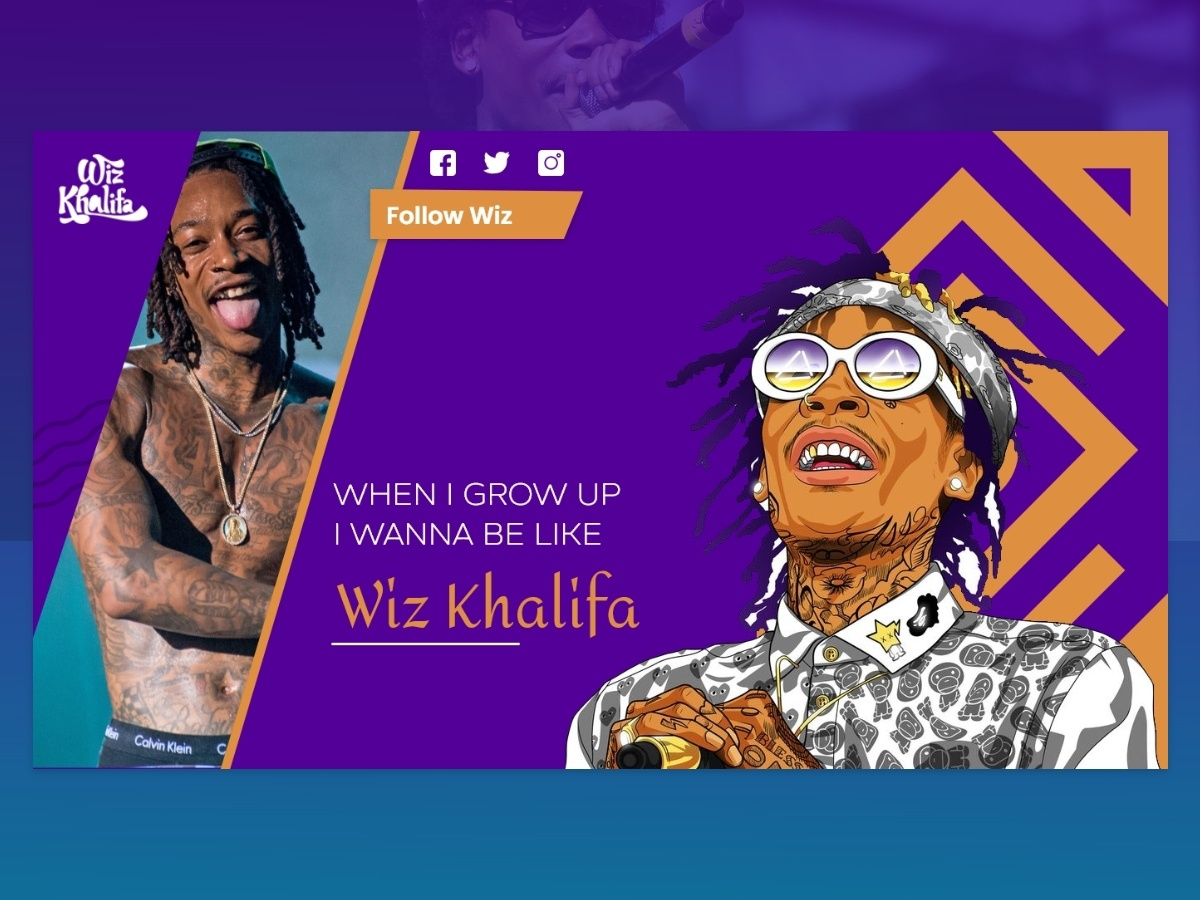 Wiz Khalifa - Reverence to living legend cool design design pop music art classic vector adobexd legend usa wiz khalifa music adobe xd designers designs website