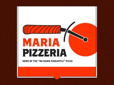 Maria Pizza Logo restaurant food red typography type brother wood cutter logo box pizza