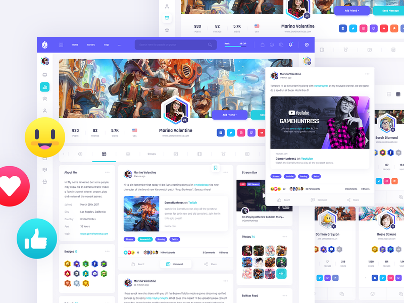 Vikinger HTML - Social Community and Marketplace avatar marketplace market friend ux ui button community social stream blog post gamification badges emoticon reaction emoji box card profile