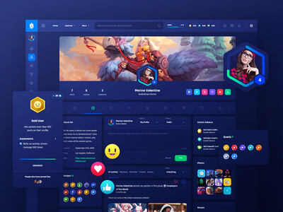 Vikinger Dark Blue - BuddyPress and GamiPress Theme gamer blog social ux ui buddypress theme profile emoji reactions socialmedia rank gaming credits badges badge gamification game wordpress dev